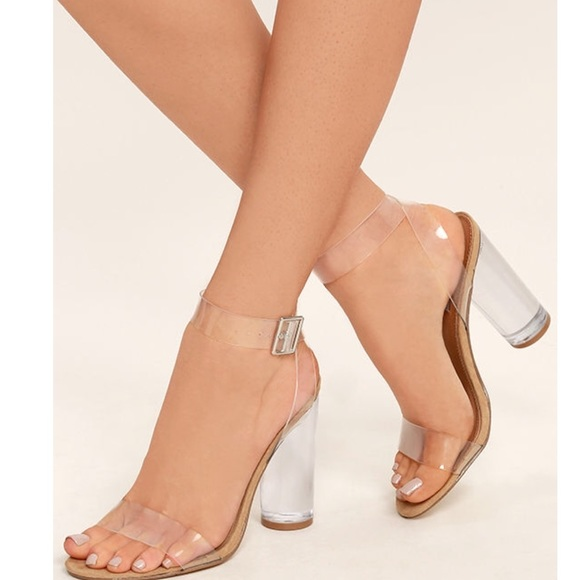 11f999ae9ca Clear strap Sandal with lucite heel